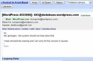 Isi Email dari WP