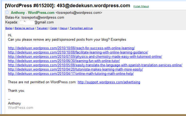 Email dari TosReport WordPress