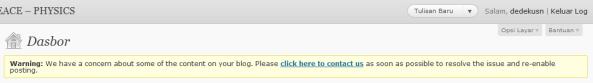 Isi peringatan dari WordPress